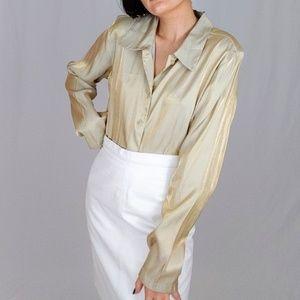 Gold shiny metallic button down blouse